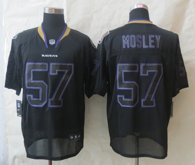 Baltimore Ravens 57 Mosley New Nike Lights Out Black Elite Jersey