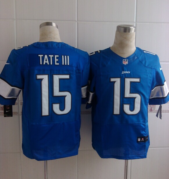 Detroit Lions 15 Tate III Blue Nike Elite 2014 Jerseys