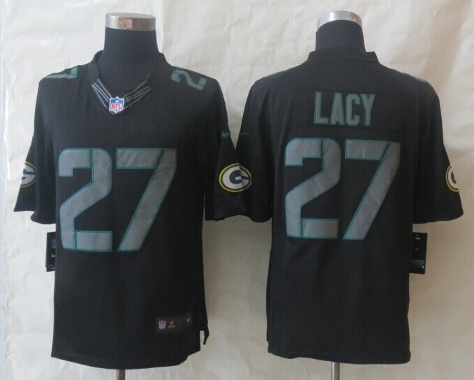 Green Bay Packers 27 Lacy New Nike Impact Limited Black Jerseys