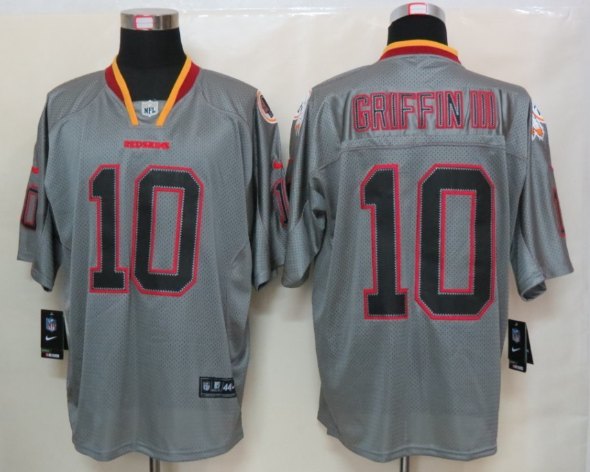 Washington Red Skins 10 Griffin III New Nike Lights Out Grey Elite Jersey