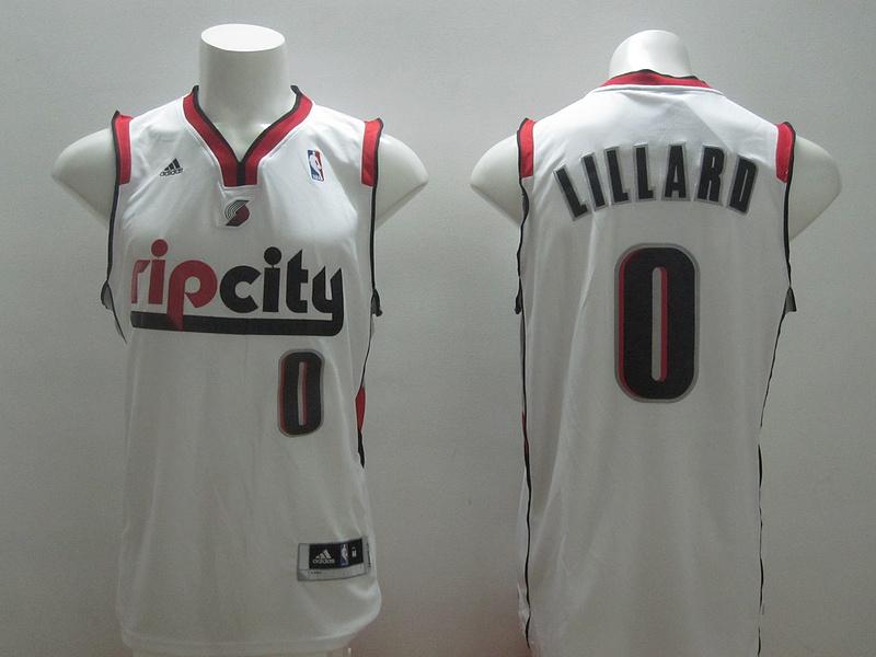 NBA Portland Trail Blazers 0 Damian Lillard White 2014 Jerseys