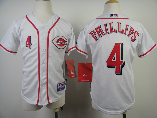 Youth MLB Cincinnati Reds 4 Brandon Phillips White 2014 Jerseys