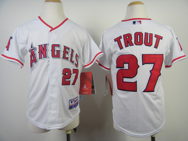 Youth MLB Los Angeles Angels 27 Mike Trout White 2014 Jerseys