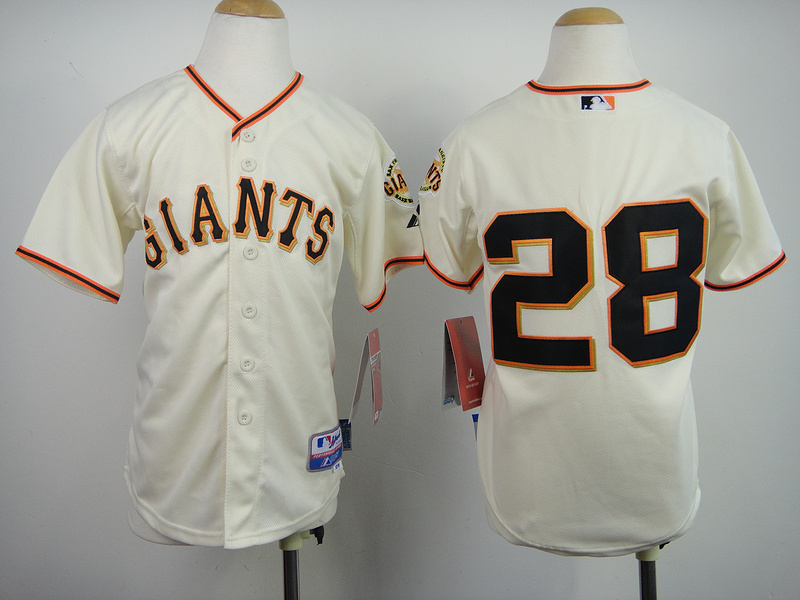 Youth MLB San Francisco Giants 28 Buster Posey Cream 2014 Jerseys