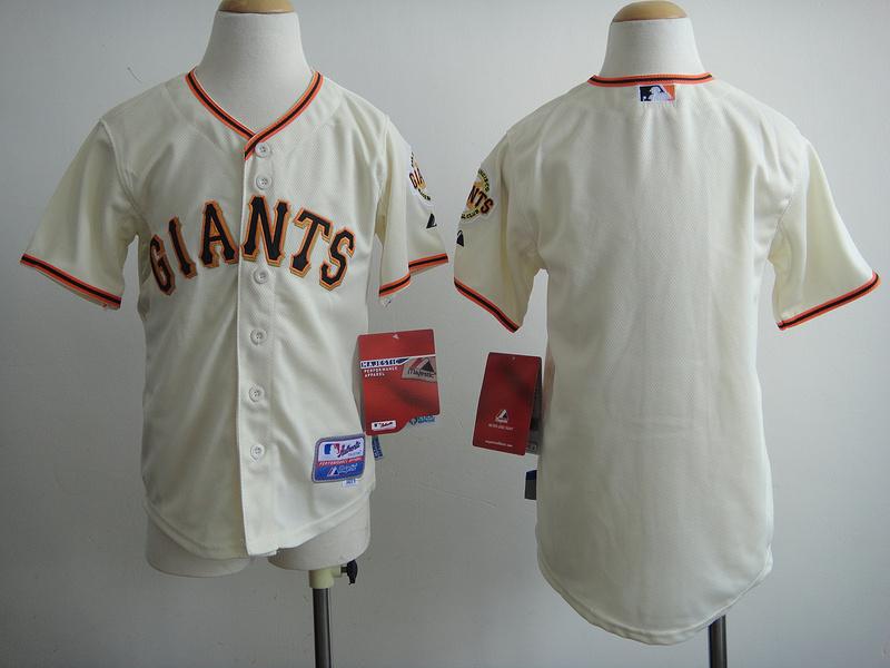 Youth MLB San Francisco Giants Blank Cream 2014 Jerseys
