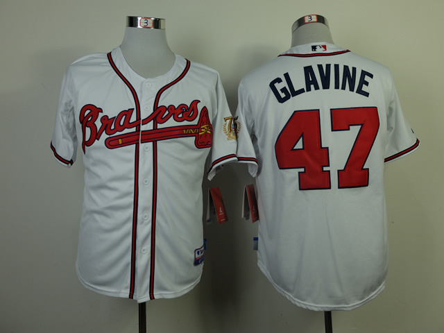 MLB Atlanta Braves 47 Tom Glavine White Jerseys