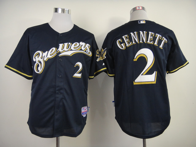 MLB Milwaukee Brewers 2 Gennett Blue 2014 Jerseys