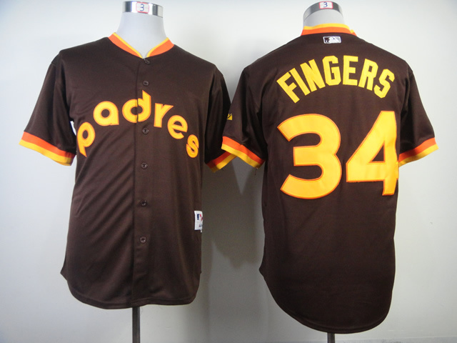 MLB San Diego Padres 34 Rollie Fingers Road 1984 Turn Back The Clock Jersey