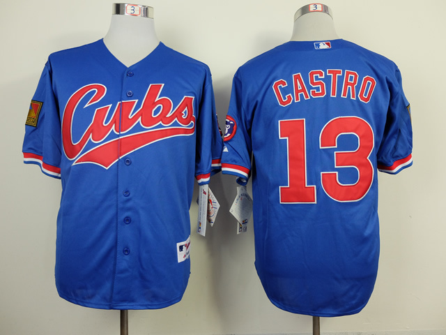 Chicago Cubs 13 Starlin Castro blue Road 1994 Turn Back The Clock Jersey