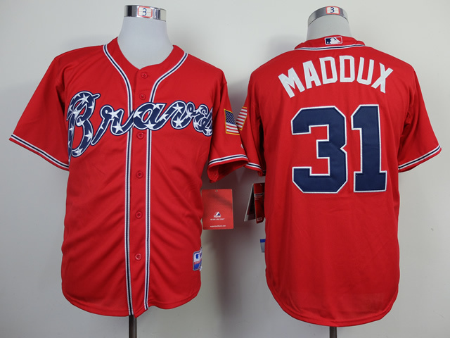 MLB Atlanta Braves 31 Greg Maddux red 2014 jerseys