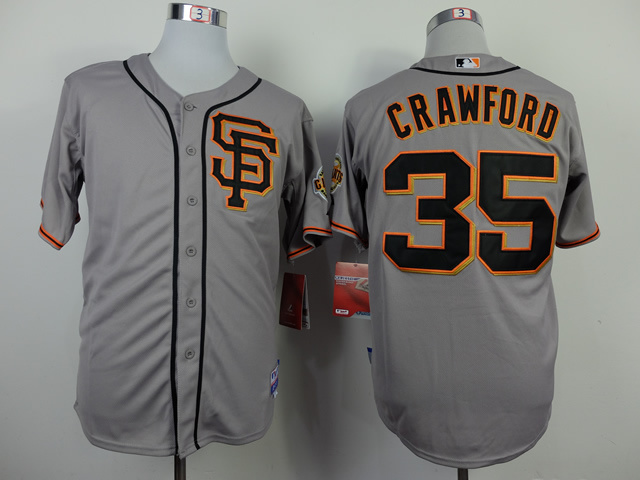 San Francisco Giants 35 Crawford grey 2014 jerseys