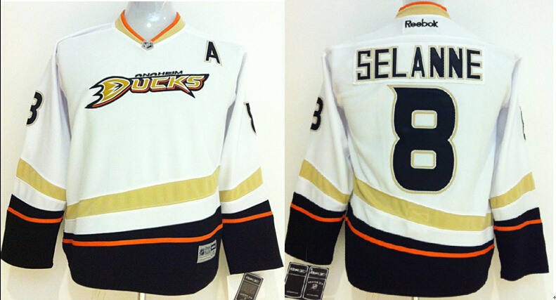 Youth NHL Anaheim Ducks 8 Anaheim Ducks White 2014 Jerseys