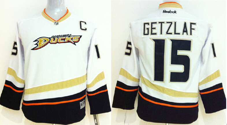 Youth NHL Anaheim Ducks 15 Ryan Getzlaf White 2014 Jerseys