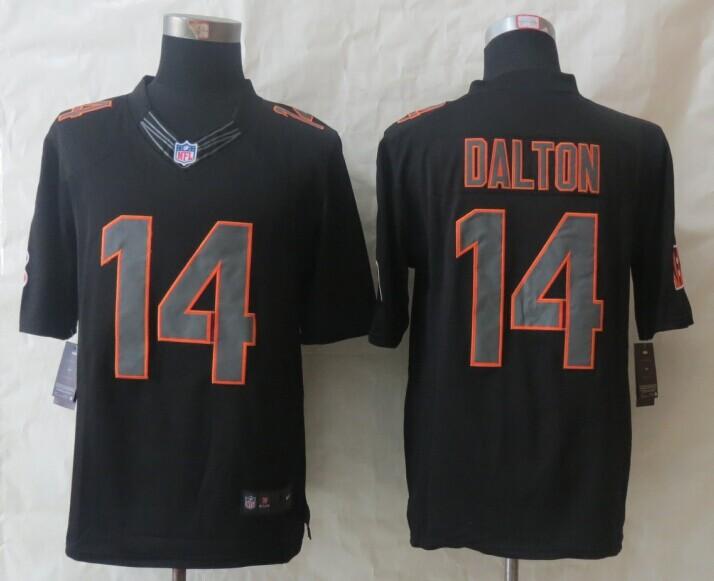 Cincinnati Bengals 14 Dalton New Nike Impact Limited Black Jerseys