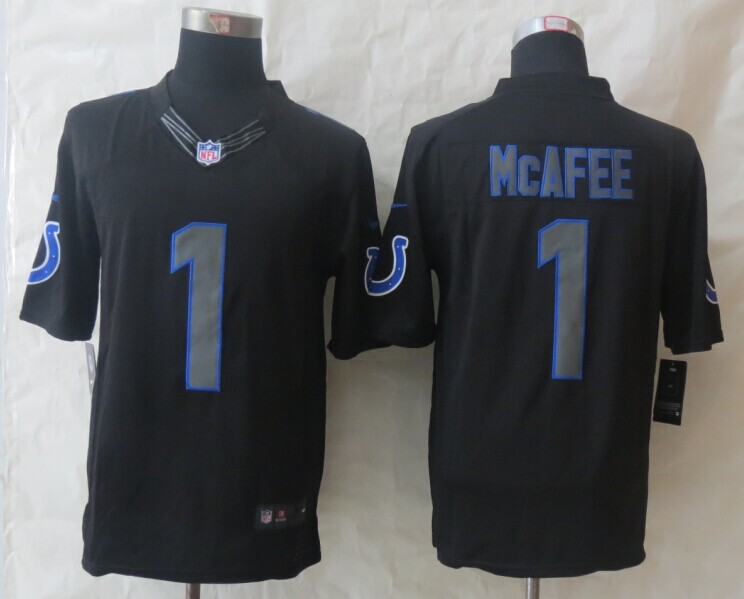 Indianapolis Colts 1 McAfee New Nike Impact Limited Black Jerseys