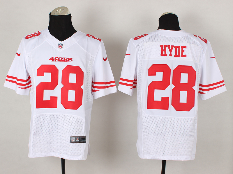 San Francisco 49ers 28 Carlos Hyde White 2014 Nike Elite Jerseys
