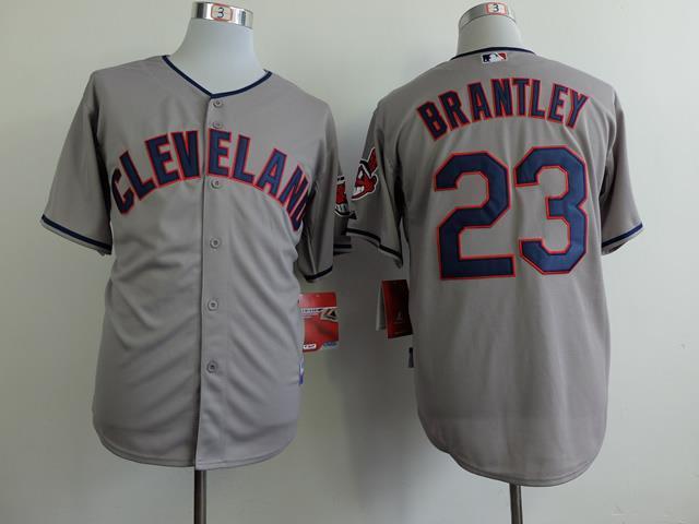 Cleveland Indians 23 Michael Brantley grey jerseys