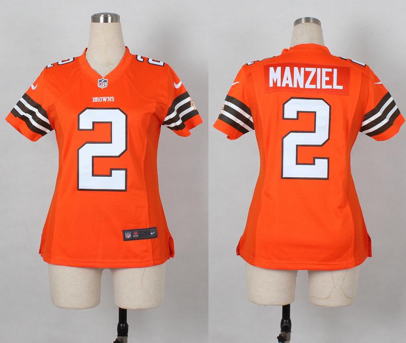 Womens Cleveland Browns 2 Johnny Manziel Orange Nike 2014 Jerseys
