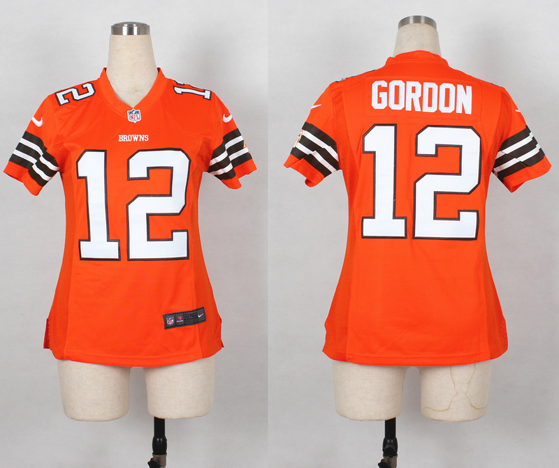 Womens Cleveland Browns 12 Josh Gordon Orange Nike 2014 Jerseys
