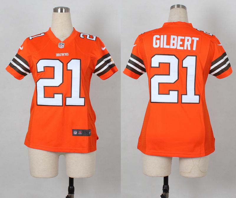 Womens Cleveland Browns 21 Justin Gilbert Orange Nike 2014 Jerseys