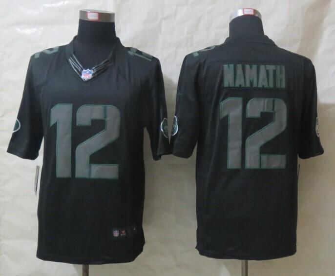New York Jets 12 Namath New Nike Impact Limited Black Jerseys