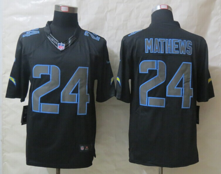 San Diego Charger 24 Mathews New Nike Impact Limited Black Jerseys