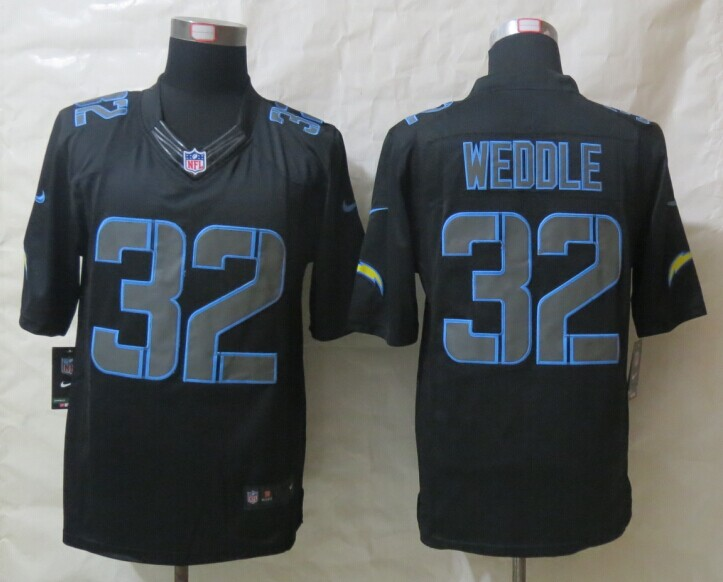 San Diego Charger 32 Weddle New Nike Impact Limited Black Jerseys