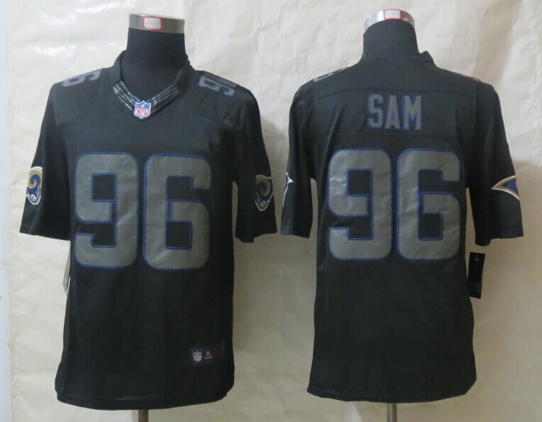 St.Louis Rams 96 Sam New Nike Impact Limited Black Jerseys