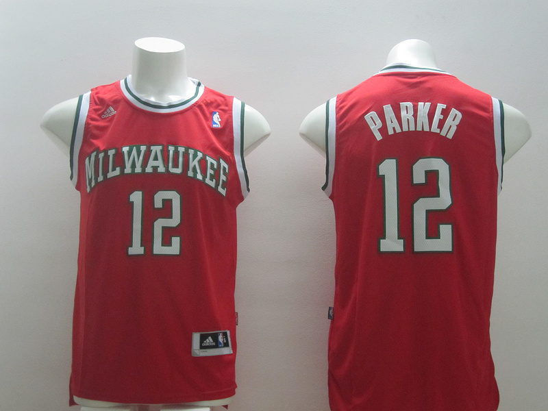 NBA Milwaukee Bucks 12 Parker Red 2014 Jerseys