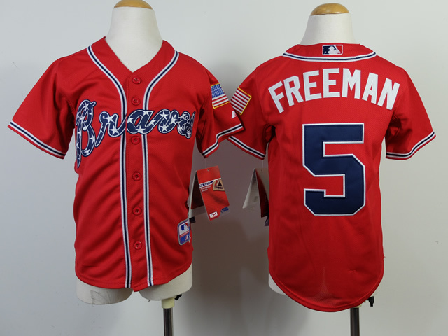 Youth MLB Atlanta Braves 5 Freddie Freeman Red 2014 Jerseys