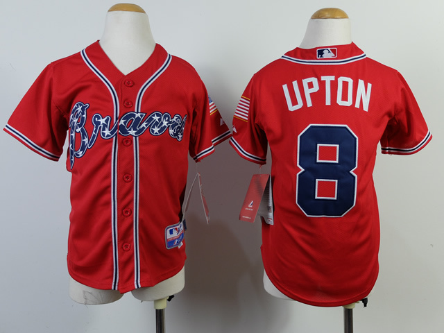 Youth MLB Atlanta Braves 8 JustIn Upton Red 2014 Jerseys