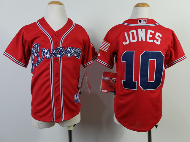 Youth MLB Atlanta Braves 10 Jones Red 2014 Jerseys