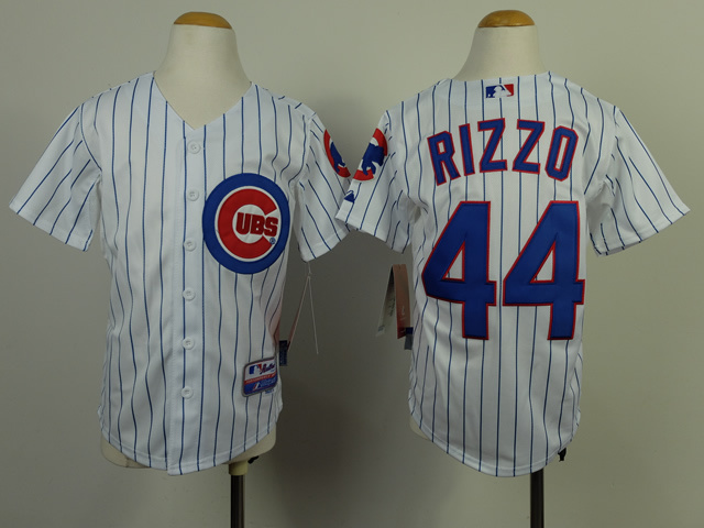Youth MLB Chicago Cubs 44 Anthony Rizzo White Blue Stripe 2014 Jerseys