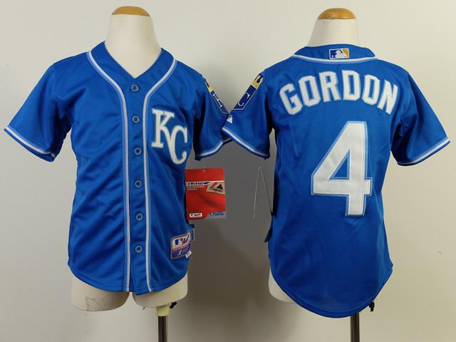 Youth MLB Kansas City Royals 4 Alex Gordon Blue 2014 Jerseys