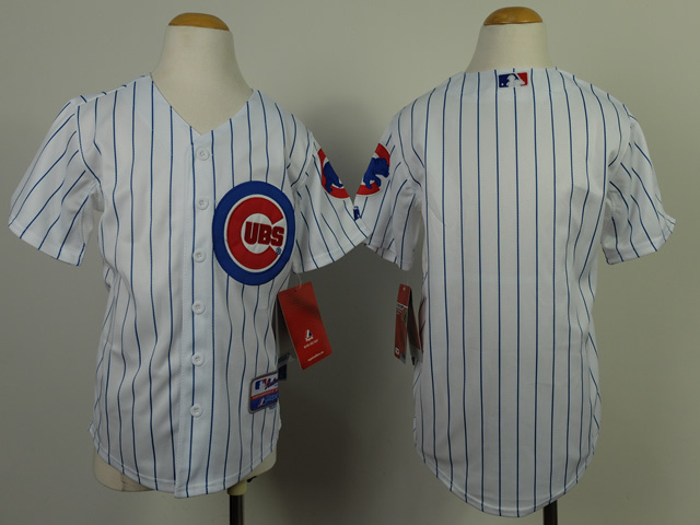 Youth MLB Chicago Cubs Blank White Blue Stripe 2014 Jerseys