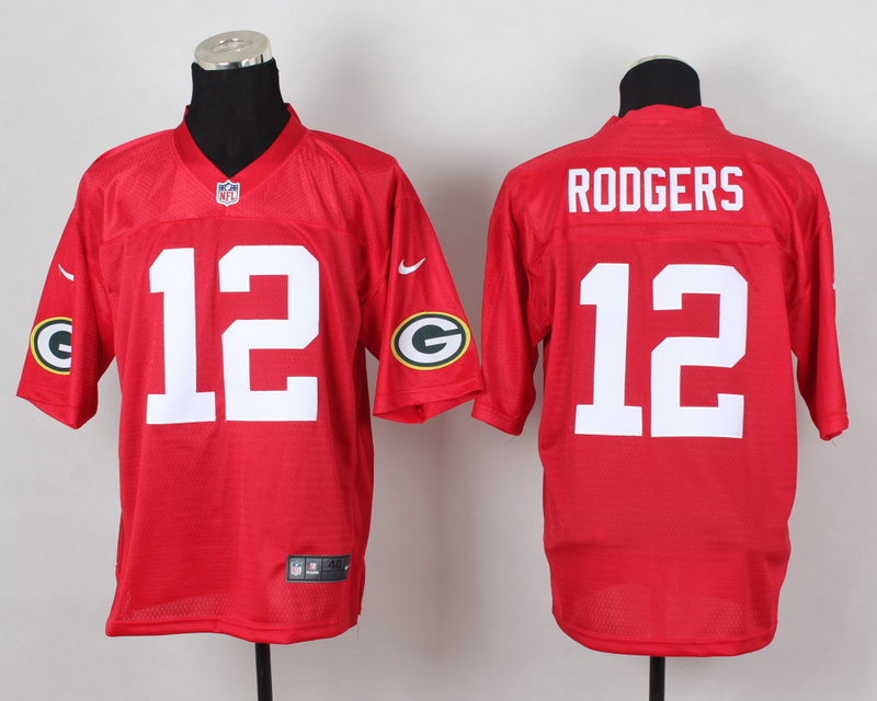 Green Bay Packers 12 Rodgers QB Red 2014 Nike Elite Jersey