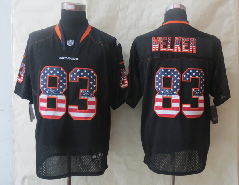 Denver Broncos 83 Welker USA Flag Fashion Black 2014 New Nike Elite Jerseys