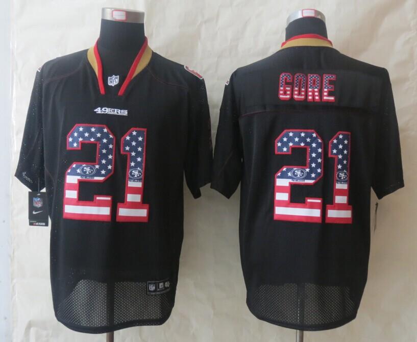 San Francisco 49ers 21 Gore USA Flag Fashion Black 2014 New Nike Elite Jerseys