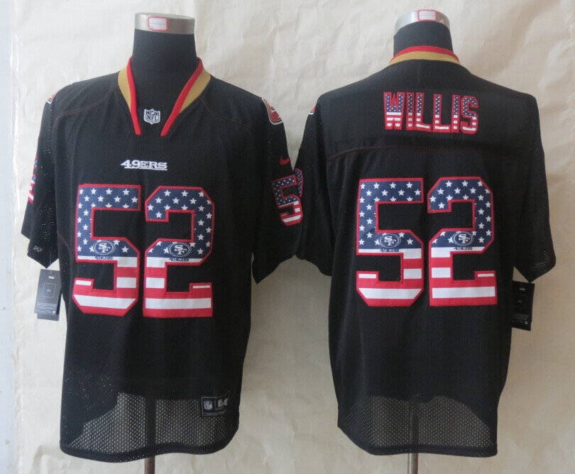 San Francisco 49ers 52 Willis USA Flag Fashion Black 2014 New Nike Elite Jerseys