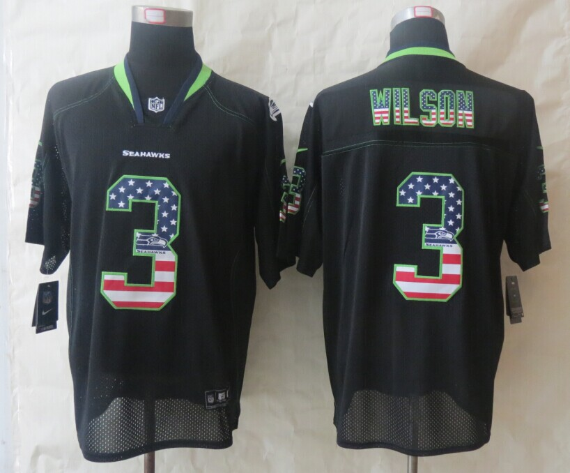 Seattle Seahawks 3 Wilson USA Flag Fashion Black 2014 New Nike Elite Jerseys
