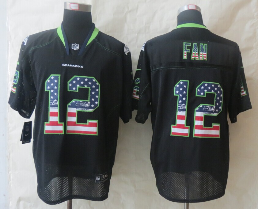 Seattle Seahawks 12 Fan USA Flag Fashion Black 2014 New Nike Elite Jerseys