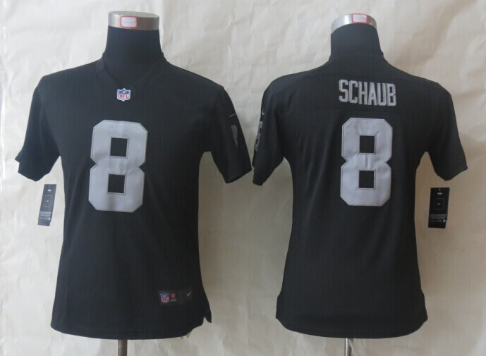 Womens Oakland Raiders 8 Schaub Black Nike Limited Jerseys