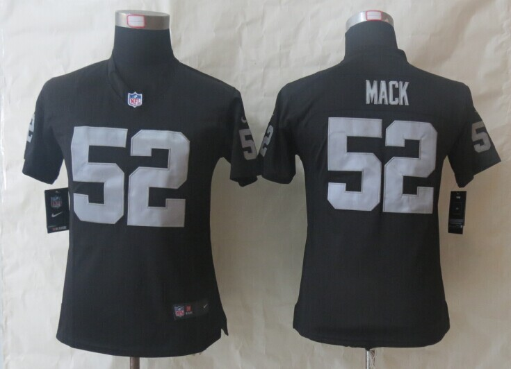 Womens Oakland Raiders 52 Mack Black Nike Limited Jerseys
