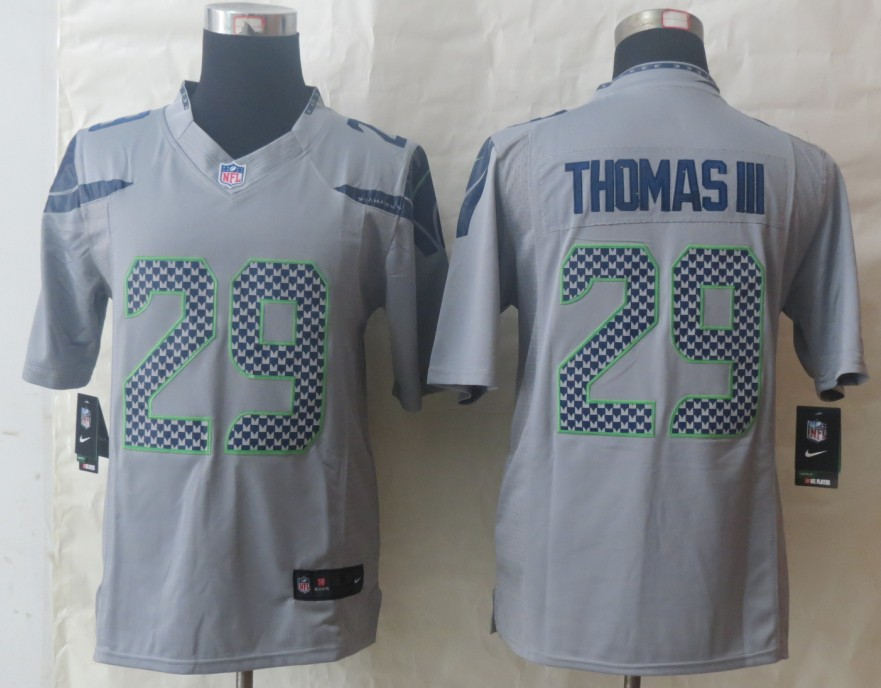 Nike Seattle Seahawks 29 Thomas III Grey Limited Jerseys