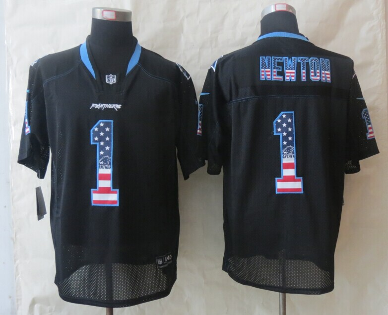 Carolina Panthers 1 Newton USA Flag Fashion Black 2014 New Nike Elite Jerseys