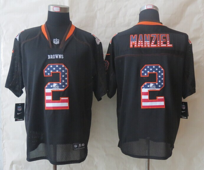 Cleveland Browns 2 Manziel USA Flag Fashion Black 2014 New Nike Elite Jerseys