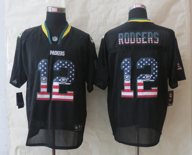 Green Bay Packers 12 Rodgers USA Flag Fashion Black 2014 New Nike Elite Jerseys