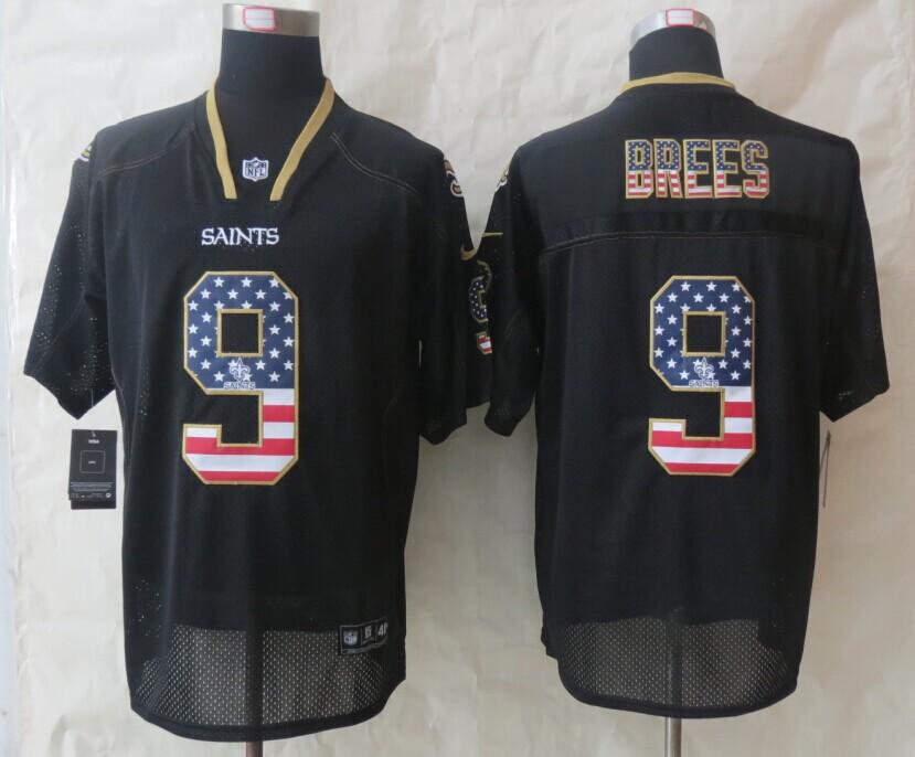 New Orleans Saints 9 Brees USA Flag Fashion Black 2014 New Nike Elite Jerseys