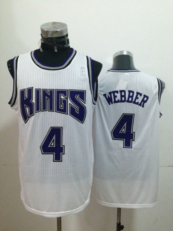 NBA Sacramento Kings 4 Chris Webber White 2014 Jerseys