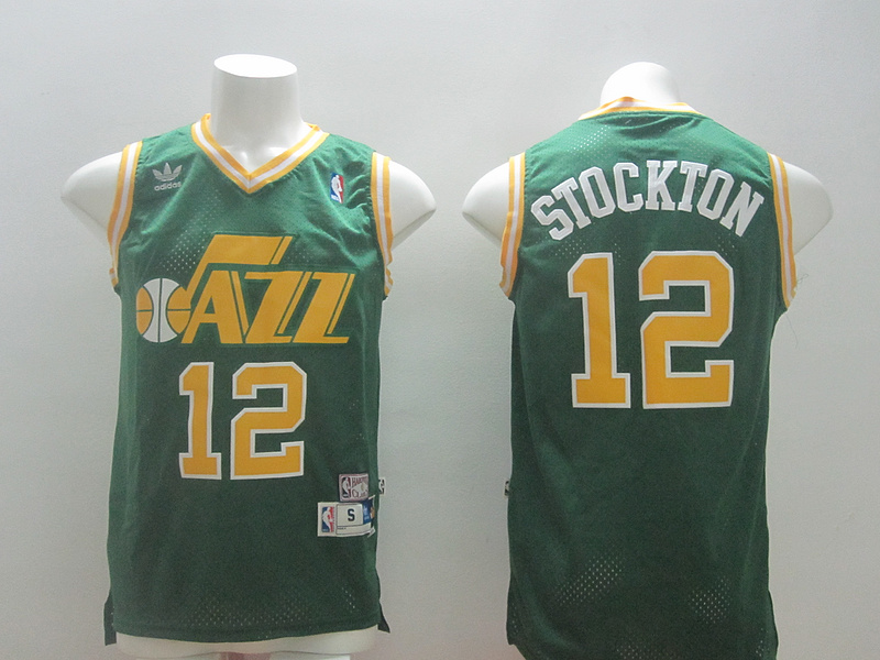 NBA Utah Jazz 12 John Stockton Green 2014 Jerseys